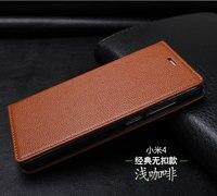 Xiaomi mi4 kılıf için 100% Hakiki deri kitap stil kılıf kapak için xiaomi m4 mi4 durumda mi4 telefon kapak