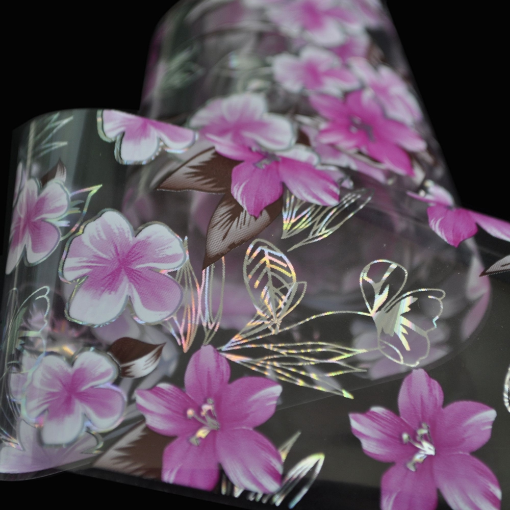 1 Roll Holographic Nail Design Decals Red White Flower Plastic Full
