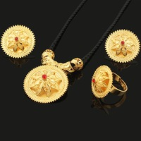 Newest DIY Design Ethiopian Jewelry Sets 18K Gold Plated Habesha Crystal Jewelry Sets For Ethiopian African