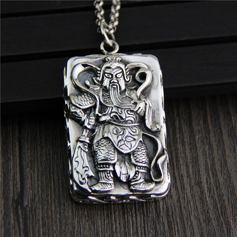 C&R Real 925 Sterling Silver pendant Necklace Retro Chinese Ares tag pendants Men's Thai Silver Pendants Fine Jewelry c&r real 925 sterling silver necklace retro gold horn evil personalized pendant thai silver amulet fine jewelry