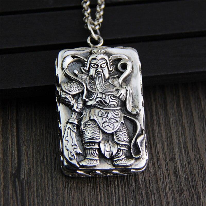 C & R Real 925 pendentif en argent Sterling collier rétro chinois Ares tag pendentifs hommes Thai argent pendentifs bijoux fins