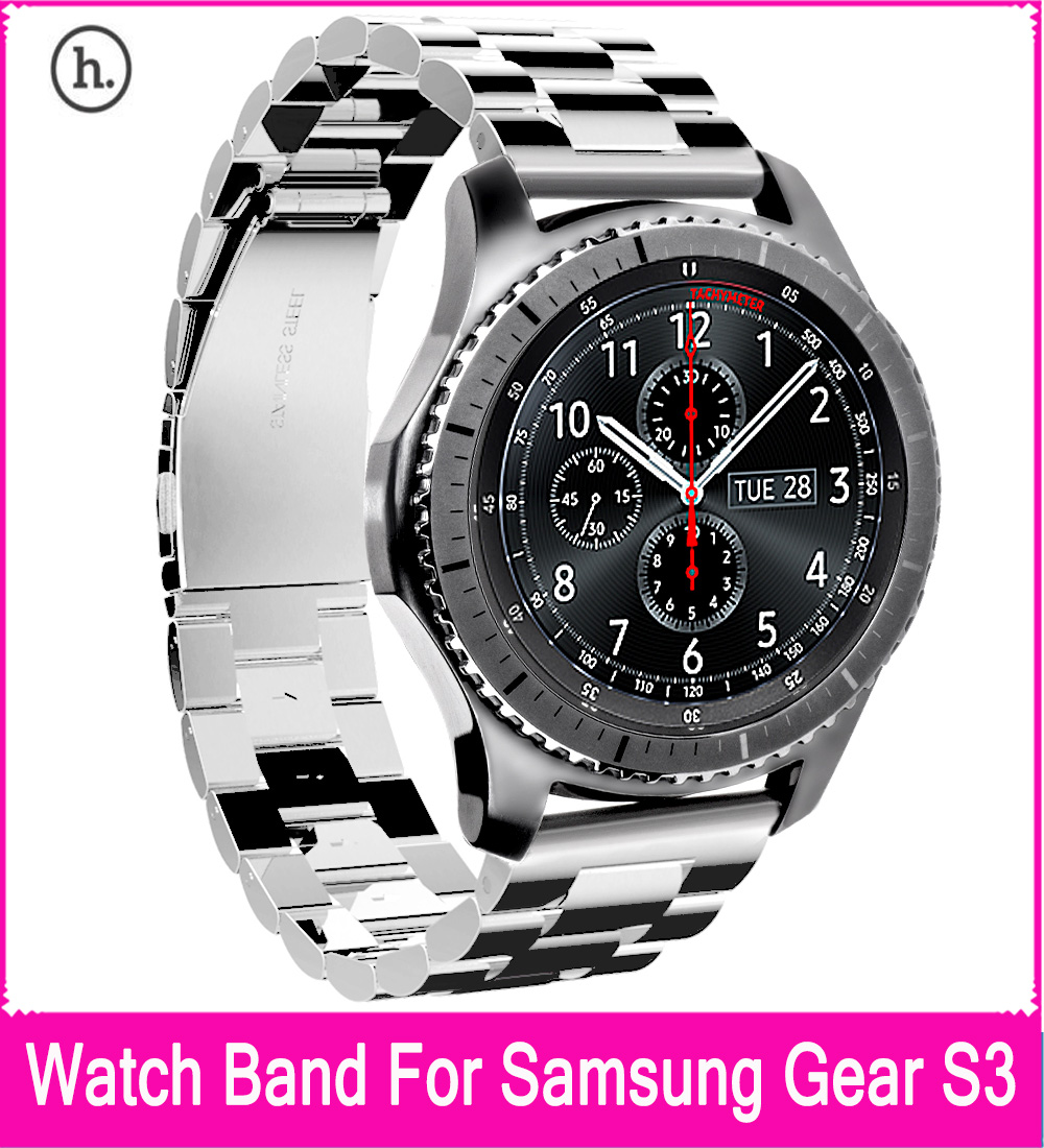 HOCO Stainless Steel Replacement Band Bracelet Strap with Three Beads Buckle Design For Samsung Gear S3 Classic / Frontier 22mm silicone rubber watch band with stainless steel buckle for samsung gear s3 classic frontier wrist strap bracelet black