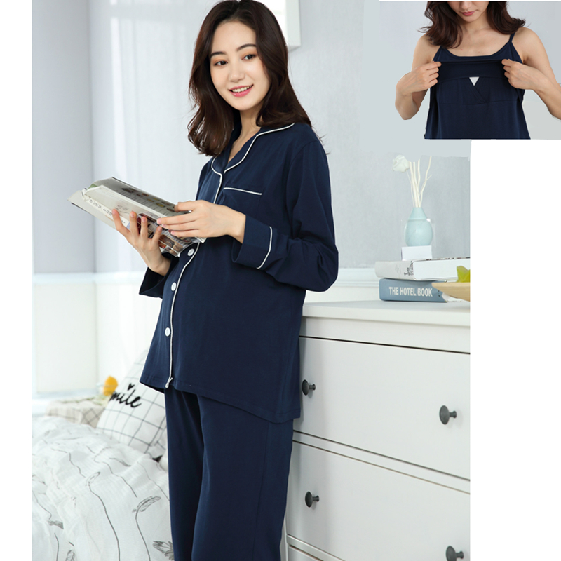 3pcs/sets Maternity Nursing Pajamas Soft Breastfeeding Sleepwear Clothes For Pregnant Women Pregnancy Nightgown Clothing A0096