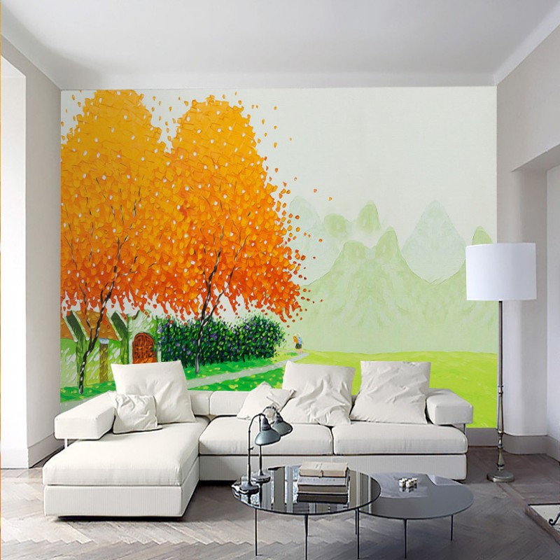 living painted hand painting minimalist tv backdrop wall landscape modern