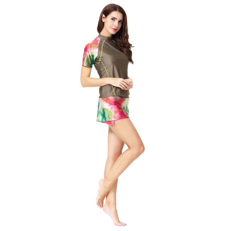 2 pcs Set Muslim Women Swimwear Islamic Skirt Modest Swimsuit Beach Suit Bathing wear Bikini set