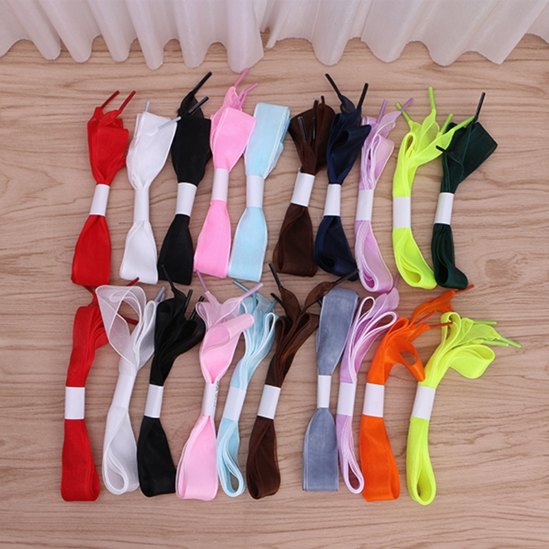 EYKOSI  Fashion 1.1CM/l 1.35CM Chiffon Shoelace Ice Cream Lace Shoes Strings Colorful General Use Multi Color New Long Durable