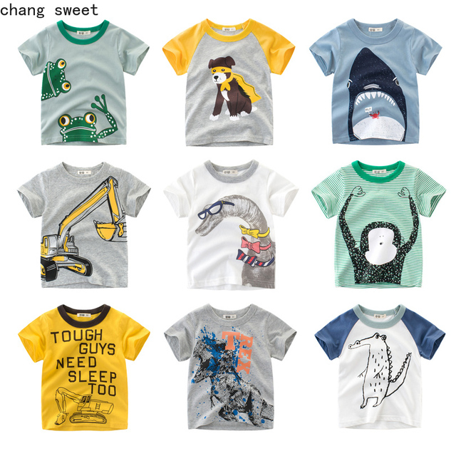 De moda de algodón niños T camisa niños infantil chico chicas camisas Camiseta de manga corta para bebé camiseta dinosaurio Tops bebé camisetas