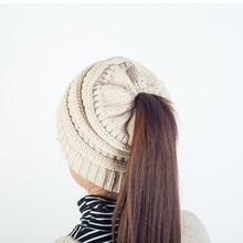 2017 Donne di Modo Della Ragazza Stretch Cappello di Lana con logo Messy  Bun Coda di 70623d3c4161