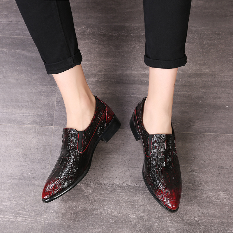 British Style Men 39 s Shoes Casual Crocodile Leather Shoes Fashion Slip on Pointed Dress Oxford Shoes Luxury Men Flats Moccasins in Oxfords from Shoes