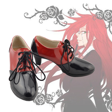 Anime Black Butler Grell Sutcliff Cosplay Shoes Ankle Boots Customized Red/Black New