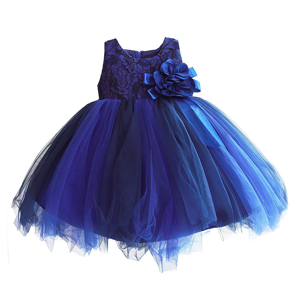 Flower Girls Dress Navy Blue Wedding Pageant Ball Gown Ribbon Bow Summer Princess Party Dresses for Girl Clothes Size 6M-4T