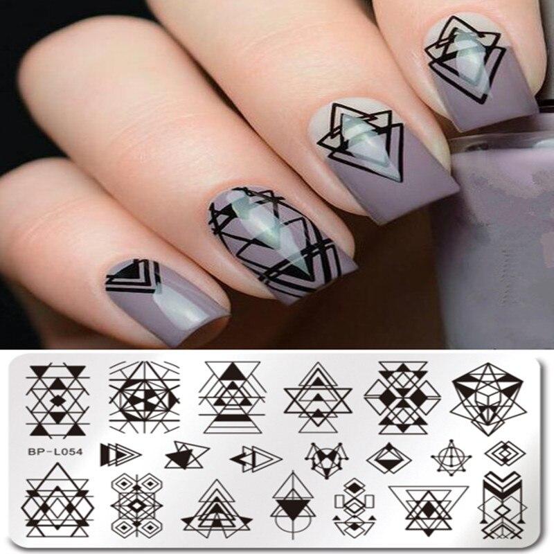 Geometric Reverse Stamping Nail Art Born Pretty Review: BORN PRETTY Negative Space Design Rectangle Nail Stamping