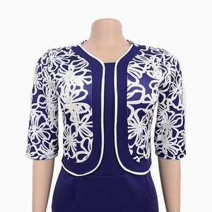 Image 5 - בגדים אפריקאים אלגנטי Bodycon שמלת נשים משרד ליידי 2019 מודפס טלאים חצי שרוול גבוה מותן תחבושת עיפרון שמלת חלוק