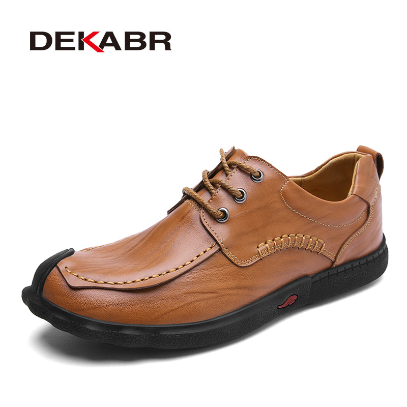 DEKABR Mens Slip Leather Lace-Up Casual Shoes New Breathable Low Top Men Shoes Spring Fashion Non-Slip Male Shoes Size 38-44 2017 new arrival spring men casual shoes mens trainers breathable mesh shoes male hombre hip hop street shoes high quality