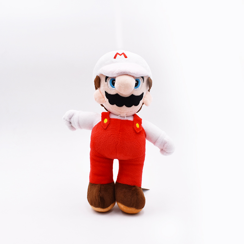 10 25cm Stand Mario High Quality Peluche Toys Super Mario Bros Brothers White Hat Mario Soft Plush Dolls Children Gifts