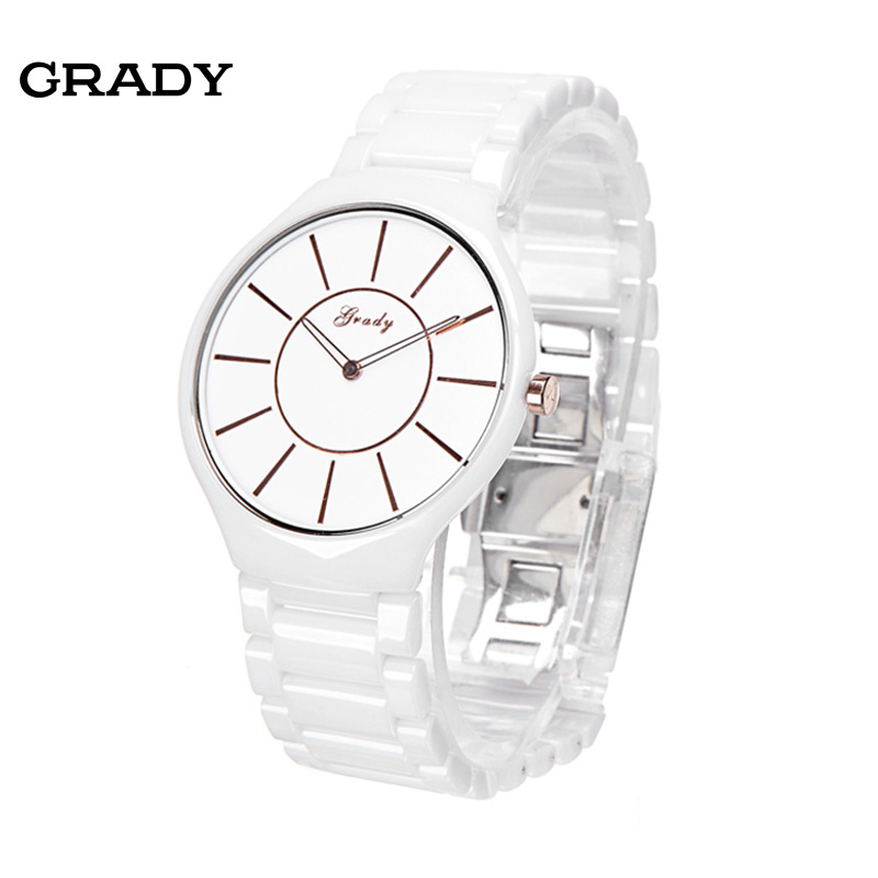 Ultra thin ceramic table male watch brief waterproof commercial quartz watch men wristwatches free shipping