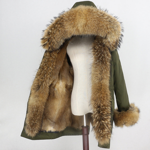 Image 3 - טבעי מינק פרווה בטנה עמיד למים אמיתי Parka פרווה מעיל חורף מעיל נשים דביבון פרווה צווארון הוד חפתים נתיק Streetwear