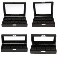 Fashion Prevailing Braid Black Carbon Fiber Red Rope Fringe Watch Jewelry Storage Display Box With Transparent
