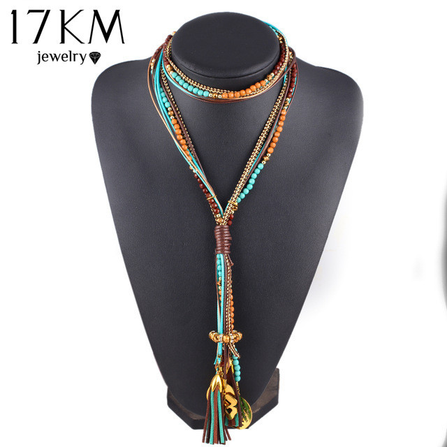 17KM New Arrival Facet Beads Necklace Multi layer Long Statement Necklaces Jewel