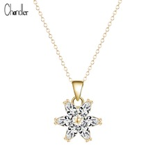 2017 Gold Plated Women's Multicolor Flower Zircon Pendant Necklace AAA Cubic Zirconia natural crystal long chain Collier Jewelry