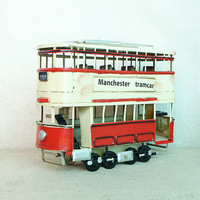 28*9*21CM Decoration Crafts Figurines Miniatures Iron Pure Manual Sheet Vintage Double Deck Steam Tram Model
