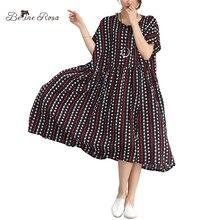 Belinerosa 2018 летние платья Для женщин Европейский Стиль горошек Полосатый Высокая Талия свободное платье в большие размеры 5XL 6XL xr000014