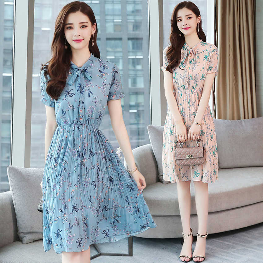 Vintage Summer Floral Chiffon Boho Dress 2018 Plus Size Elegant Women club  Midi Dresses Party Pink 0b0d23c032df