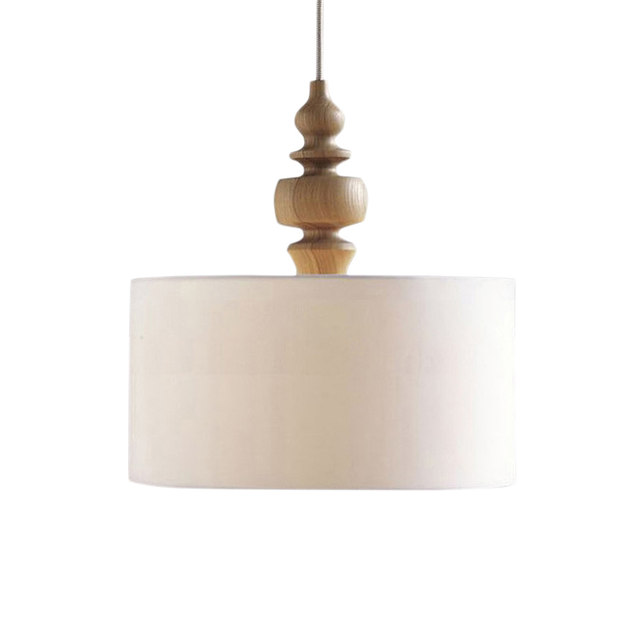 Modern Simple Fabric Drum Pendant Lamp Nordic Round Light Wood Art Bed Room Cafe Lighting Decor
