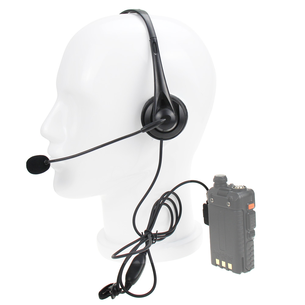 Universal K Plug Over Ear Headphone Walkie Talkie Noise Reduction Two Pin PTT Headset For Kenwood Baofeng BF-UV5R BF-888S