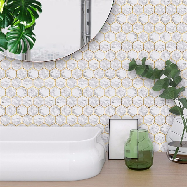Yanqiao Hexagonal White Marble Tiles Wall Art Decal Sticker Peel and ...
