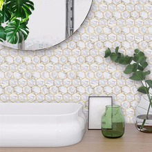 Yanqiao Hexagonal White Marble Tiles Wall Art Decal Sticker Peel and Stick DIY Home Decoration Waterproof 10 Pcs/Set
