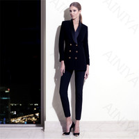 Fashion Women's Business Pants Suits Navy Velve Jacket Slim Blazer Coat Suits For Women 2 Pieces Set Female Office Uniform