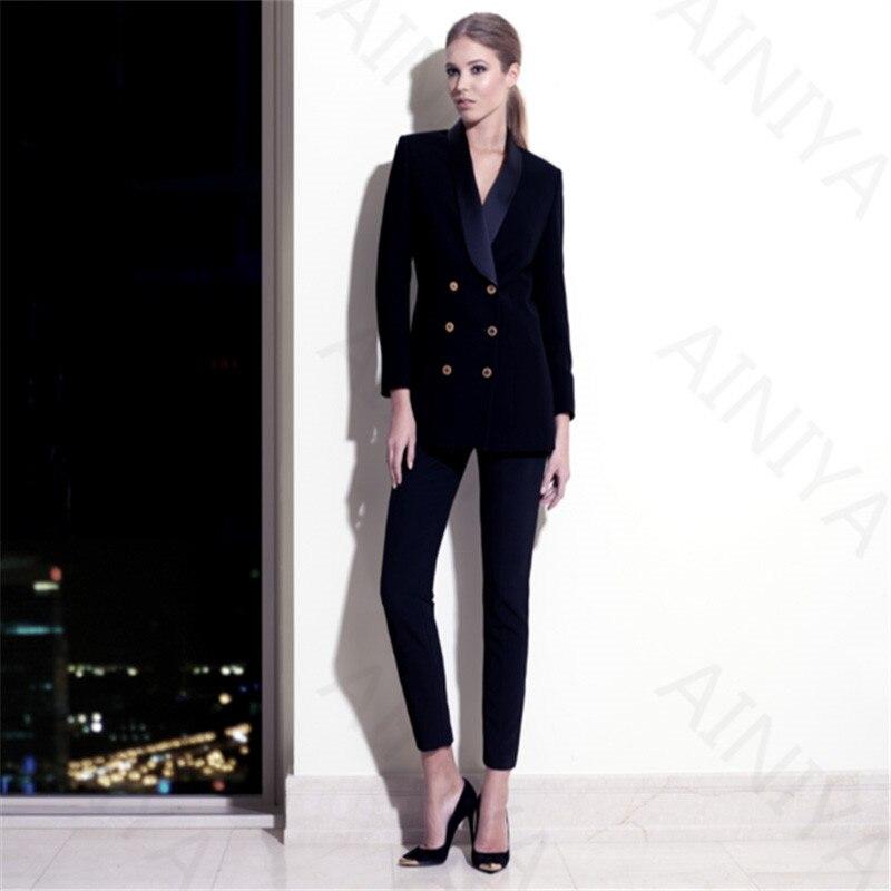 Fashion Womens Business Pants Suits Navy Velve Jacket Slim Blazer Coat Suits For Women 2 ...