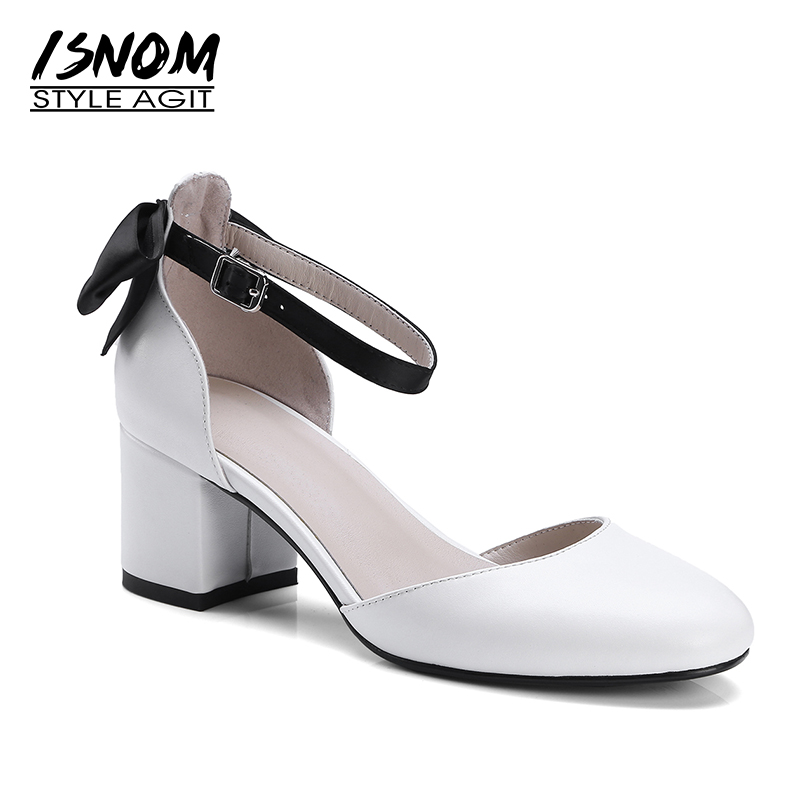 ISNOM Summer Thick High Heeled Sandals Women Genuine Leather Round Toe Footwear 2019 New Fashion Ankle
