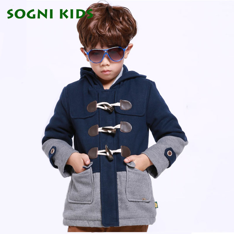 SOGNI KIDS Boys Clothing Fashion Brand Children Wool Coats Outerwear For boys Thicken Hooded Boys Winter Jackets Kids Clothes fashion girl thicken snowsuit winter jackets for girls children down coats outerwear warm hooded clothes big kids clothing gh236