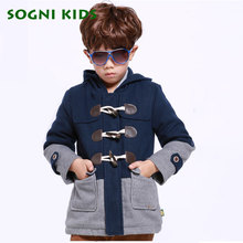 SOGNI KIDS Boys Clothing Fashion Brand Children Wool Coats Outerwear For boys Thicken Hooded Boys Winter