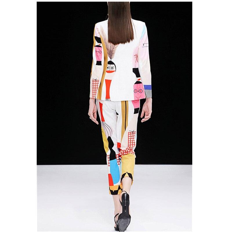 Elastique Impression Femmes De Costumes Pour Black Taille amp; Bouton Pièce Costume Printemps Ol Travail Unique Pantalon Blazer 2 Fixe white Ensemble Veste Feminino Les 6xzwUEqC