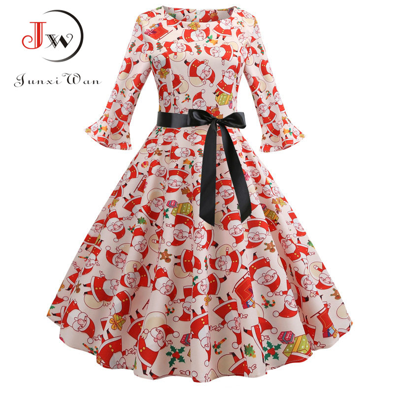 Print Vintage Christmas Dress Women Petal Sleeve Elegant Party Dresses  Clothes Ladies Casual Winter Midi Dress Plus Size