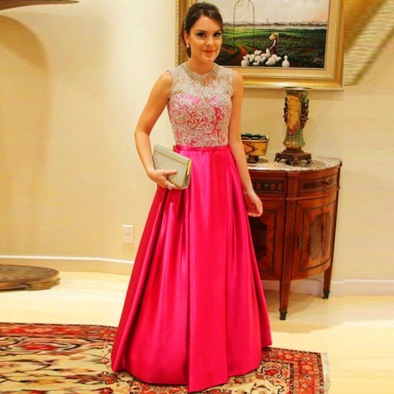 Brilliant Golden Lace Appliques Fuchsia Evening Dress 2016 Draped ...