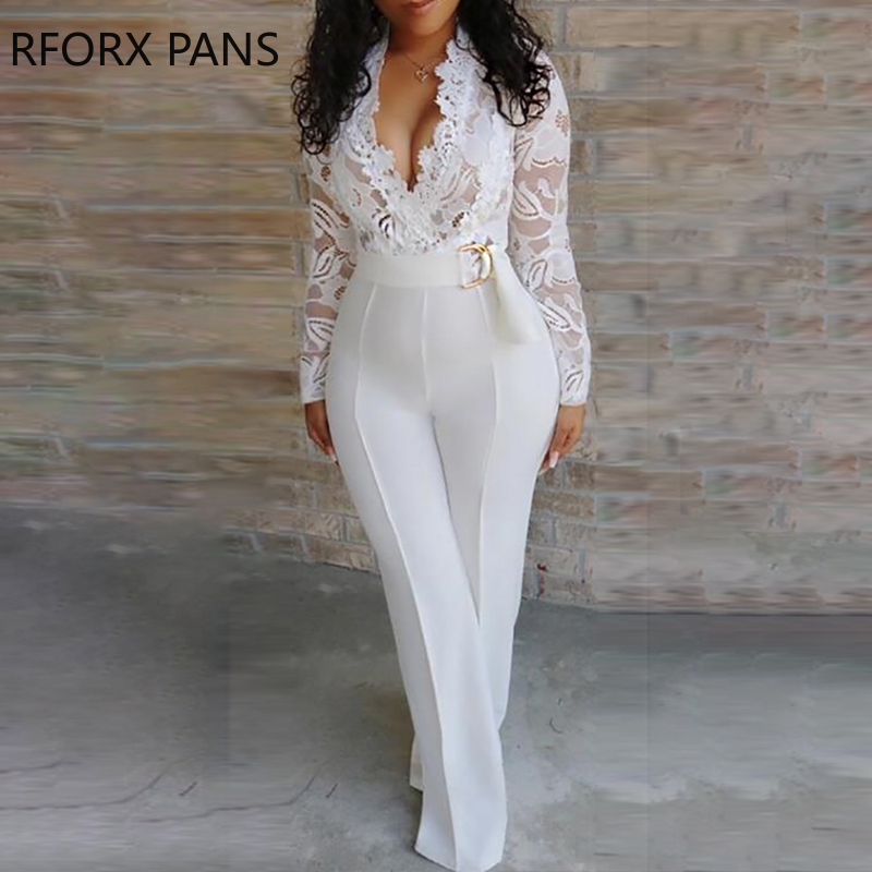 Plunge Lace Bodice Insert Jumpsuit for Women 2019(China)