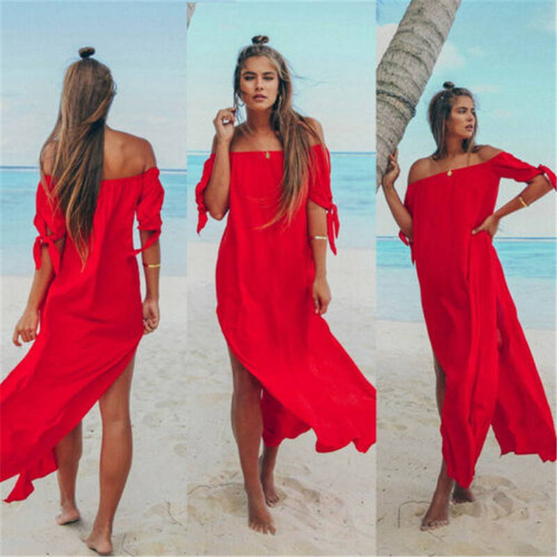 Sexy Off Shoulder Women Beach Dress Swim Suit Middle Sleeve Solid Beach Cover Up Summer Maxi Beach Dresses For Women Swimsuits