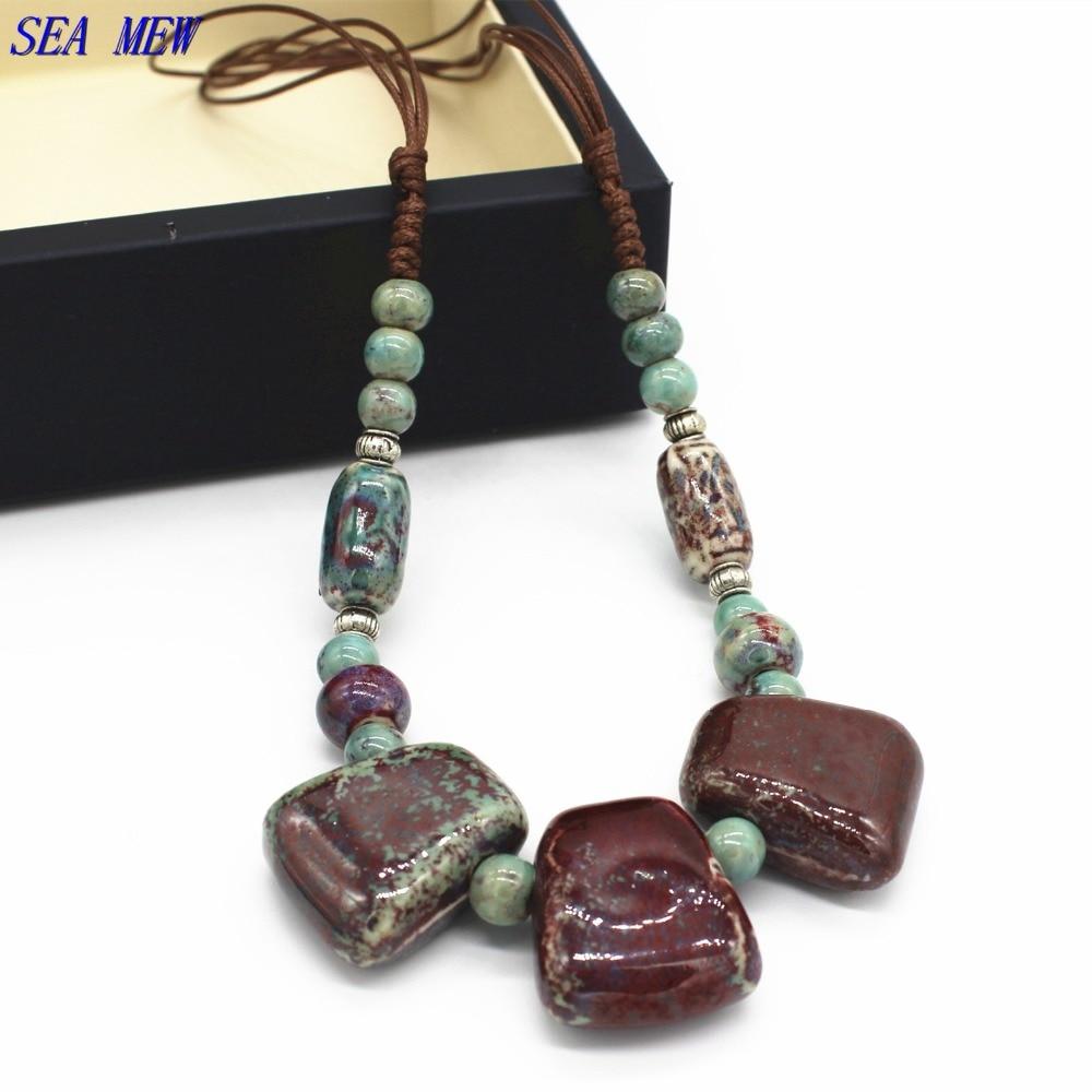Fashion Style Ceramic Necklace Tibetan Silver Adjustable