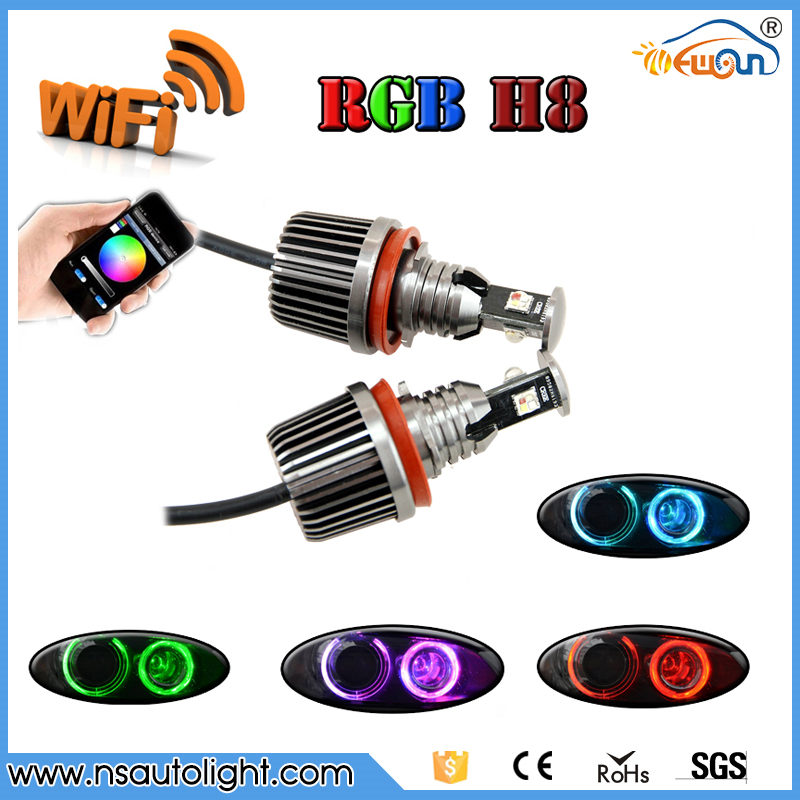 Hot Sale 2X 36W 72W wifi control RGB color change LED Angel Eyes Halo Rings for BMW E92 X5 X6 Z4 H8 Led Canbus LED Bulb 4 90mm rgb led lights wholesale price led halo rings 12v 10000k angel eyes rgb led angel eyes for byd for chery for golf4