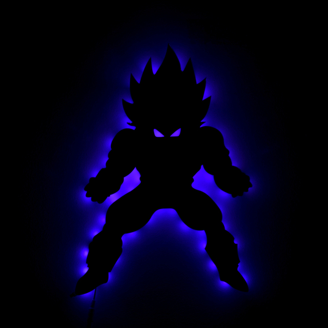1Piece Remote Controlled DragonBallz Vegeta LED Wall Art Saiyan ...