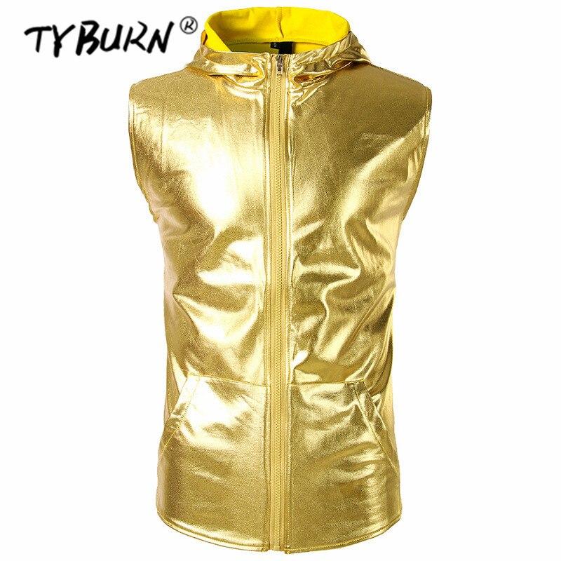 TYBURN marque vêtements Fitness hommes or Bling débardeur avec capuche hommes fermeture éclair réservoir hauts entraînement Singlet chemise sans manches