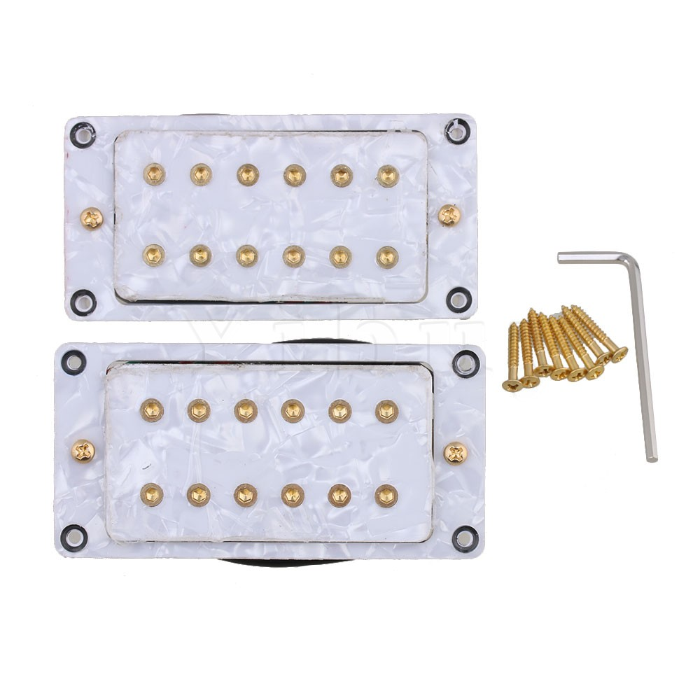 Yibuy White Pearl 92 x 46mm Humbucker Electric Guitar Pickups Set with Wrench & Screw Pack of 2 20pcs m3 m12 screw thread metric plugs taps tap wrench die wrench set