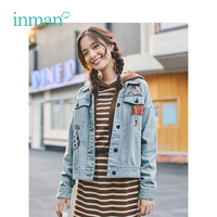 INMAN Autumn New Arrival Cool Turn Down Collar Literary Young Embroidery Short Women Jacket