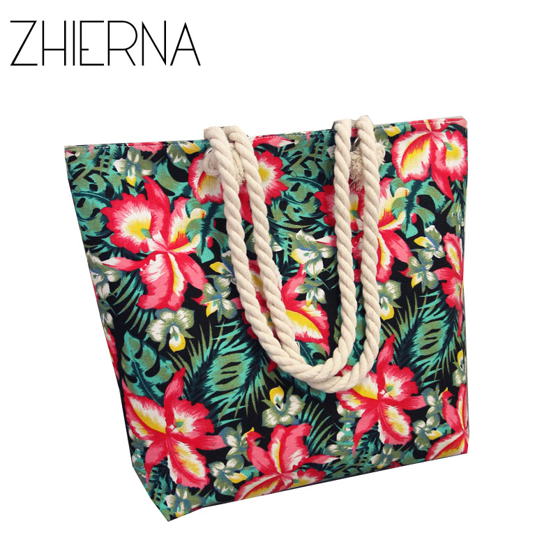 ZHIERNA Summer Shopping Big Bag floral Messenger Bags Women Canvas bohemian style striped Shoulder Beach Bag Female Casual Tote