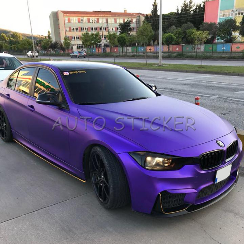 5/10/15/20*1.52M Premium Matte Purple Metallic Chrome Car Vinyl Film Metallic Purple Vinyl Air Free Bubble For Vehicle Wraps