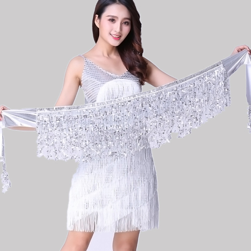 New Sexy Belly Dance Skirt Fringed Waist Band Sequined Tassel Arm Scarf Stage Performance Bead Piece Skirt Bohemian Loincloth